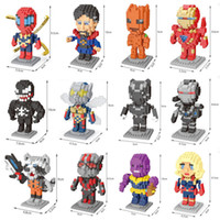 Wholesale marvel batman figures resale online - 12pcs Nanoblocks Marvel Venom Edward Brock Ant Man Hulk Thanos Batman Bane Hero Figure Models Blocks Toys Micro Size Bricks
