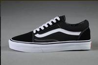 ingrosso scarpe di tela nere per le donne-2019 Classics Old Skool Canvas Uomo Donna Casual Scarpe Classic Nero Bianco Vanss Scarpe da skateboard