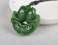 pez de jade blanco al por mayor-jade verde espinaca como colgante de jade blanco y Tianyu colgante de peces