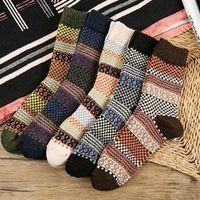 medias de algodón vintage al por mayor-201910 Vintage tela escocesa Chequeado calcetines de algodón retro precioso vestido de alta calidad de los calcetines calcetines de invierno otoño suave linda para los hombres Medias M197Y