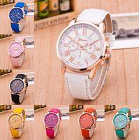Wholesale big geneva watches for sale - Group buy Watches Men Bracelet Geneva Roman Numerals Leather Band Analog Quartz Wristwatch Women cool Big dial Casual Watch