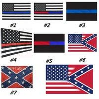 amerikanische flagge weiß großhandel-Blue Line USA Flags dünne rote Linie US-Flagge Schwarz-weiße und blaue Streifen der amerikanischen Flagge mit Messing Grommets MMA2501-1