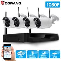 güvenlik hdd toptan satış-ZGWANG Kablosuz CCTV Sistemi 1080 P 2MP 4CH NVR IP IR-CUT açık CCTV Kamera IP Güvenlik Sistemi video Gözetim Kiti 1 TB HDD
