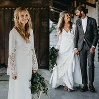 Wholesale beach wedding dresses for sale - Stunning Long Sleeve Lace Chiffon Wedding Dresses Beach Boho Bohemian Garden Vestido de novia Country Style Bridal Gown Ball Bride Dress
