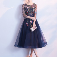 Wholesale shirt dresses for work resale online - Kisbini New Women Dinner Evening Party Dress O neck Embroidery Flower Mesh Ribbon Bow Sweet Ball Gown For Bridesmaid Wedding T4190615