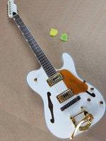 e-gitarre schwarzer tremolo großhandel-Weiße, halbhohe E-Gitarre mit Black Link, Tremolo-System, Gold Pickguard und Hardware, hochwertiger persönlicher Service