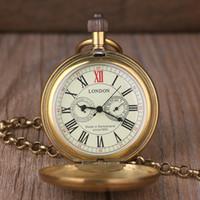 cadena de cobre vintage al por mayor-Reloj retro vintage de cobre para hombres de la aleación de Londres Reloj de bolsillo mecánico con cadena de metal Steampunk romana