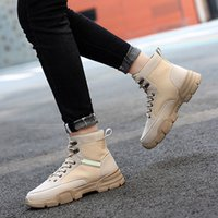 mens chaussures imperméables vente achat en gros de-Hot Sale-Taille 38-45 chaussures de randonnée chaussures outillage Bottes hiver pour hommes en cuir imperméable Desert Combat Bottines Army travail * 161W