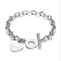 Wholesale stainless steel bracelet closures for sale - Group buy Elegent Love Bracelets for Women Girls Stainless Steel Link Chain Heart Charms Bracelet for Women cm Length Toggle Clasp Closure