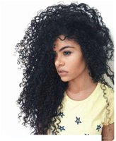 Wholesale curly full cap wigs for sale - Group buy 360 lace wig with cap kinky curly pre plucked natural hairline glueless brazilian hair full lace human hair wigs
