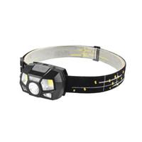 Wholesale powerful headlamps resale online - LED Headlamp Motion Sensor Ultra Bright Hard Hat Head Lamp Powerful Headlight USB Rechargeable Waterproof Headlamp LJJZ435