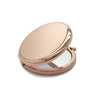 runder spiegel großhandel-6,5 cm Tragbare Falten Kosmetikspiegel Doppelseitige Nette Bilden Spiegel Runde Blume Form Taschenspiegel Mini Spiegel Make-Up werkzeug