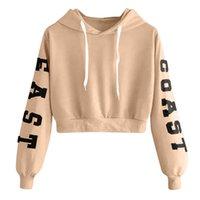 kore tarzı bluzlar toptan satış-Kadınlar Kore tarzı Moda Letter Baskılı Uzun Kollu Hoodie Kısa Kazak Kazak Bluz Bayan Casual Hoodies Tops