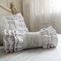 almofadas bordadas rendas venda por atacado-Bordado almofada de impressão decorativo travesseiro da cama doces pastoral Almofada Princess Preguear lombar sofa mão repousa