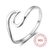 anillos de calidad para niñas al por mayor-Alta calidad moda mujer niña accesorios jewellry heartbeat wave Real 925 anillo de dedo de plata esterlina joyería de niña joven al por mayor de China