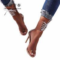 encaje claro hasta zapatos de boda al por mayor-Moda Europa Marca Mujeres Tacones Altos Sandalias Sexy Peep Toe Zapatos de la correa del tobillo Lace Up Clear Transparente Partido Sandalias de Boda