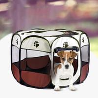grandes cercas de cães venda por atacado-Folding Pet Carrier Tent Cat Dog Playpen Cerca gaiola do filhote de cachorro do canil grande espaço dobrável Exercício jogo ao ar livre Indoor