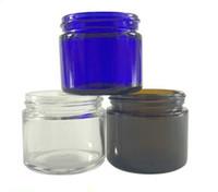 ingrosso contenitori cosmetici di vetro blu-60ml 2 oz vasetto di vetro 60g chiaro ambrato di colore blu con il coperchio nero del contenitore di immagazzinaggio vaso di vetro Cosmetic