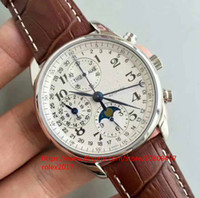 Wholesale watches online - Best seller Mens Classic super White dial through the bottom cover movement Chronograph Automatic Brown leather watches