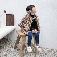 crianças leopardo veludo venda por atacado-Crianças Roupas de Inverno Meninas Leopardo De Veludo Casaco De Pele Cardigan Bebê Grosso Quente Moda Manga Comprida Casaco