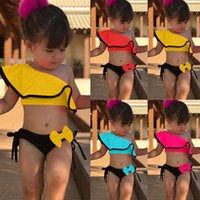 trajes de praia para crianças venda por atacado-2019 Bebê Crianças Menina Two Piece Swimsuit Verão Swimwear Criança Para Esportes Aquáticos Bikini Set Swim Vestido De Praia Traje de Banho C33