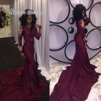 Wholesale photos muslim evening dresses resale online - Burgundy Prom Dress Mermaid Muslim Long Sleeve New Formal Evening Gown High Neck Colorful Vintage Custom Made Gold Applique Winter