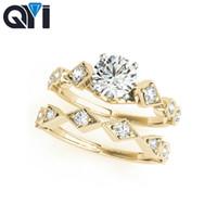 ingrosso solitario di oro giallo-QYI Two Tone Solitaire 10K Anello di fidanzamento Set Solid 10K Yellow Gold Round Cut 0.5ct Anello di fidanzamento Simulato Diamond Women
