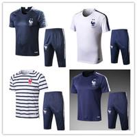 fransız giyim toptan satış-Kısa eşofman fransız futbol forması 18 19 Eğitim takım elbise futbol giyim kısa slevees 3/4 pantolon GRIEZMANN POGBA MBAPPE futbol yetişkin üniforma