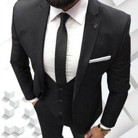 Wholesale men wedding vest style new online - New Style Three Piece Black Evening Party Men Suits Notch Lapel Trim Fit Custom Made Wedding Tuxedos Jacket Pants Vest Tie W