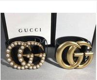 ceinture blanche pour femmes de haut achat en gros de-TOP hommes ceinture des femmes de haute qualité en cuir noir blanc Designer cuir ceinture Q ceinture de luxe des hommes Pearl LOGO livraison gratuite 7.0 perle et