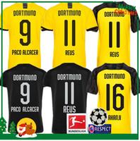 camisa reus venda por atacado-19 20 Dortmund REUS home Jerseys 2019 2020 camisa Borussia SCHURRLE HUMMELS GOTZE adulto homem mulher crianças kit camisa esporte calções de guarda ...