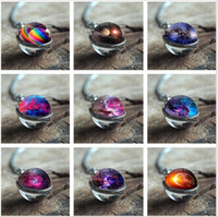 Wholesale purple gem necklaces resale online - European and American new accessories cosmic Milky way star sky double sided glass ball time gem pendant woolen chain ornaments