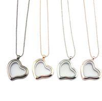 colgantes de cristal del corazón flotante al por mayor-Diy corazón collar amor corazón marcos de cristal medallón flotante collar colgantes joyería de moda para mujeres regalo oro 160794