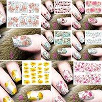 nagel wasser aufkleber abziehbilder großhandel-1 Blatt Nail Art Decals Wassertransfer Sticker Wasserzeichen Nail Sticker Nägel Zubehör Beauty Fashion Charming Praktisch