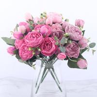 ingrosso piccoli fiori di seta rosa-11 pollici Rose Pink Silk Bouquet Fiori artificiali di peonia 5 Grandi teste 4 Piccolo bocciolo Sposa Matrimonio Holding fiori Decorazione domestica Fiori finti
