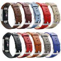 relógios de couro venda por atacado-Para Fitbit taxa de 2 bandas Strap real genuíno couro Correias Banda Pulseiras inteligente Mix Assista Cores