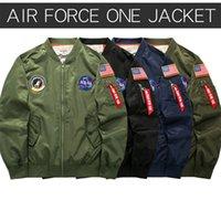 ingrosso nastri uniformi-Delicato ricamo NASA Uomo Giacche Designer Ribbon Baseball Uniform Fashion Zipper e Pocket Decorate Jacket WL