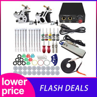 Wholesale tattoo beginner resale online - Complete Tattoo Machine Kit Set Coils Guns Colors Black Pigment Sets Power Tattoo Beginner Kits Permanent Makeup Machines