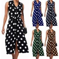 Wholesale womens dresses resale online - 2019 Fashion Womens Designer Dress Women Boho Polka Dot Lace Up Sleeveless Evening Cocktail Party Beach Split Dress