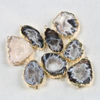 drusy oro al por mayor-BOROSA Natural Brasileño Galvanizado en color dorado Rebanado Ágatas abiertas Geode Drusy Druzy Connector Pendants