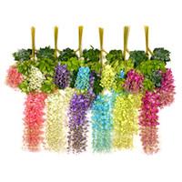 ev için dekoratif suni çiçekler toptan satış-Wisteria Düğün Dekor Şenlikli Parti Düğün için Yapay Dekoratif Çiçekler Garlands Ev Gereçleri çok renkler 110 cm / 75 cm