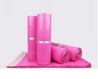 joint adhésif sacs en plastique achat en gros de-100pcs / lot Rose Poly Mailer 17 * 30cm Express Sac Sacs Enveloppe Enveloppe / Joint Autocollant Pochette pour Sachets En Plastique
