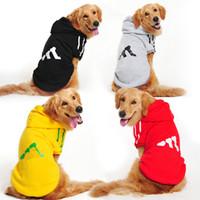 grandes abrigos de pelo al por mayor-Ropa de perro grande moda Plus terciopelo mascota Chaqueta de perro con sombrero Ocio Cabello dorado Hass Chilab Rado Abrigo de perro de fábrica al por mayor