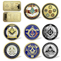 Wholesale gold nuggets resale online - Masonic Working Tools Sign Souvenir Coin Freemasons Accessories Masonic Challenge Coin Square Gold Nugget Badge Collectibles Token