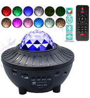 USB Star Night Light Music Starry Water Wave LED lights Remote Bluetooth Colorful Rotating Projector Sound-Activated Decor Lamp