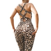 leopar bodysuit kadınlar toptan satış-Vertvie Leopar Spor kadın Tek Parça Spor Takım Elbise Set Egzersiz Gym Fitness Tulum Pantolon Seksi Yoga Set Bandaj spor Bodysuit Y190508