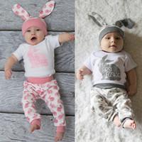 ingrosso cappelli coniglietto neonato-Perimedes Easter Day Baby Summer Clothes Set Neonato Ragazza Boy Cartoon Prima Pasqua 3D Bunny Outfit Pagliaccetto Pantaloni Set