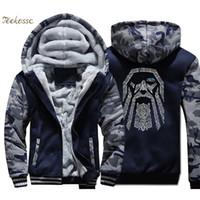eski hip hop hoodie toptan satış-Odin Vintage Hoodie Ceket Erkekler Kış Polar Kalın Fermuar Benzersiz babalar Günü Hediyeleri Ceket Kazak Hip Hop Streetwear
