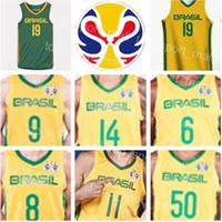 brazil dünya kupası formaları toptan satış-2019 Dünya Kupası Takımı Brezilya Basketbol Forması Brezilya 9 Marcelinho HUERTAS 14 Marquinhos SOUSA Cristiano FELICIO Vitor BENITE Anderson VAREJAO