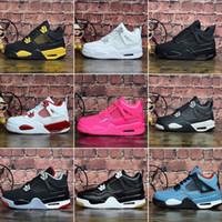 botas rojas de niña al por mayor-Nike Air Jordan 4 Barato para mujer Jumpman 4 IV zapatos de baloncesto 4s Denim Black Cat Fire rojo Bred Oreo White J4 zapatillas de deporte botas para jóvenes niños